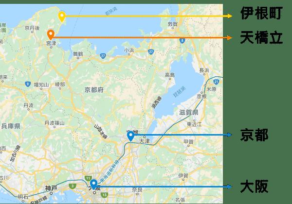 京都大阪天橋立伊根舟屋位置