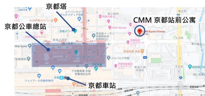 CMM京都站前旅館交通位置