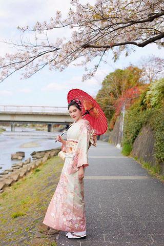 櫻花和服訪問著