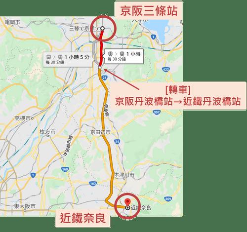 京阪三條到近鐵奈良